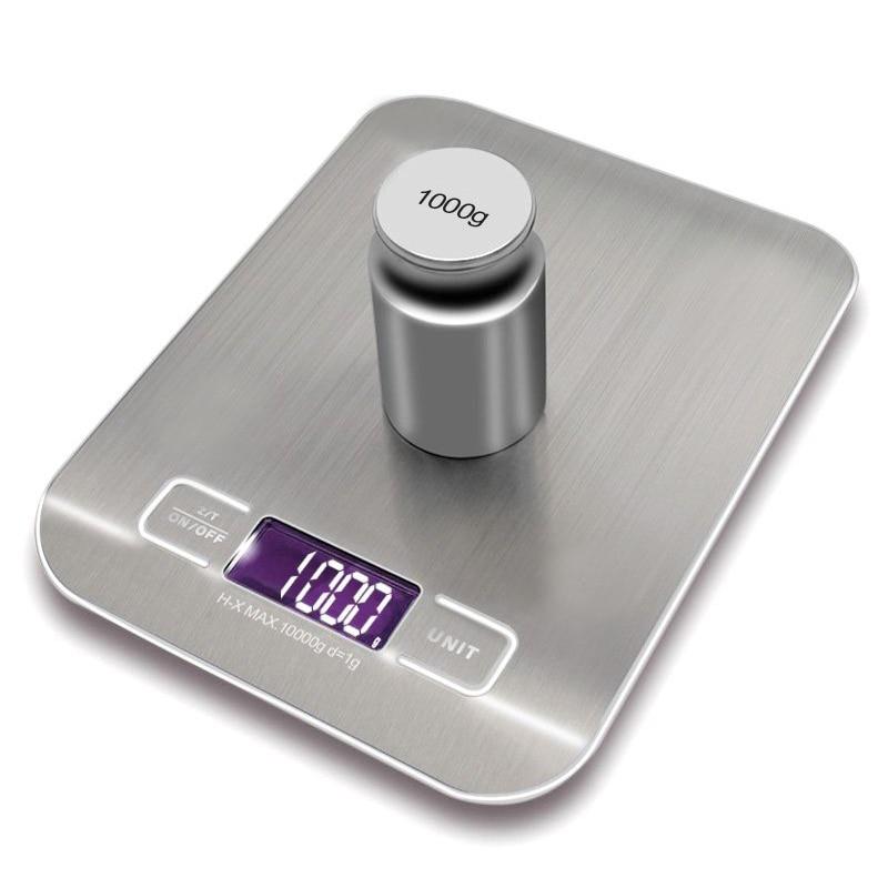 Balanza de cocina electrónica LCD balanza herramientas de medición de cocina Digital de acero inoxidable 10000g/1G balanza digital de alimentos