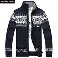 Брат Ван Новый мужской свитер Модный рисунок Рождество кардиган свитер куртка Мужчины повседневная утолщение трикотаж