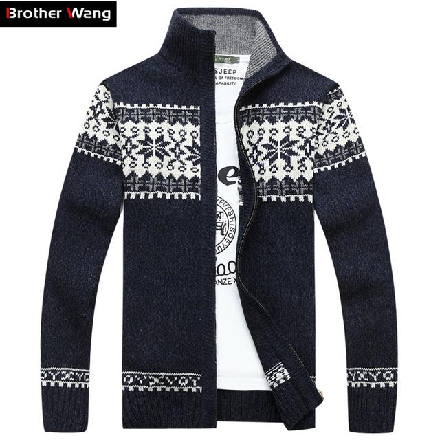 Hermano Wang suéter de los Nuevos hombres De Moda de Navidad patrón de chaqueta de punto chaqueta de géneros de punto de Los Hombres ocasionales de espesamiento