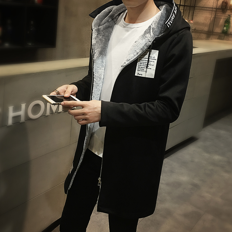 New 2016 winter thickening fleece long trench coat men fashon print mens overcoat with hooded men's clothing size m-5xl MDY9