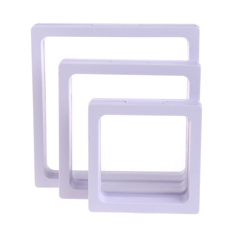 New Jewelry Box Display Storage Transparent Square Film Holder Frame Window Case