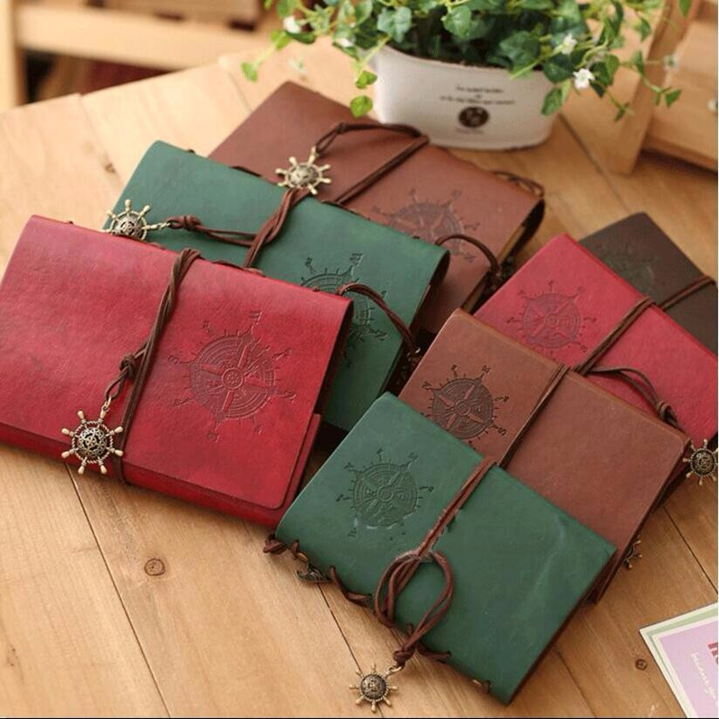 5 Inch PU Leather Loose-leaf Vintage DIY Photo Album /Notebook 80 Sheets Khaki Paper Pirate Book Diary Rudder Travel Notepad Hot wedding photo album pvc sheets 400pcs 260x260mm photo book pvc double side adhesive mounting sheets