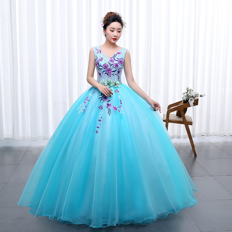 Image 3 - OPZC Color yarn Princess Blue New Wedding Dress 2020 Sexy V Neck 
