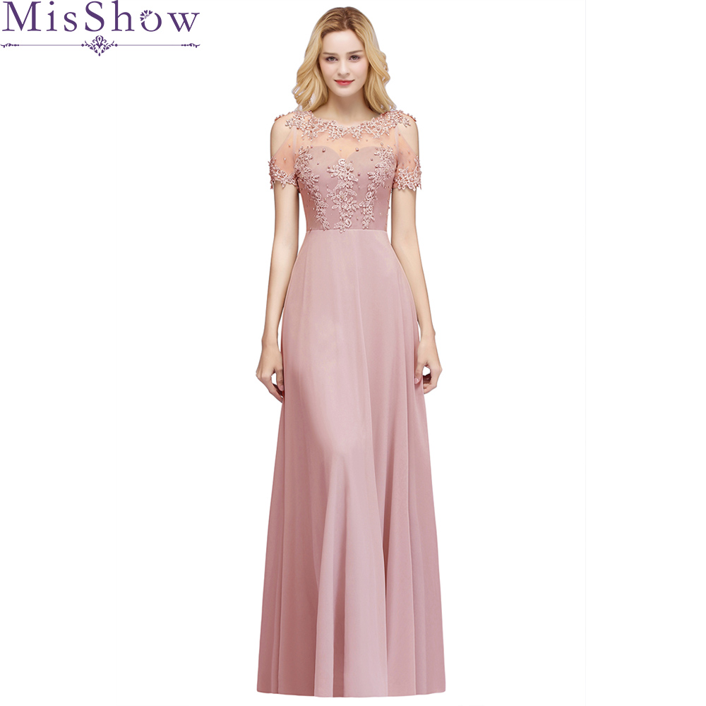 Dusty Pink Elegant Evening Dress Long A Line See Though Back Formal Dresses Women Occasion Party Dresses With Beadings 2019 New