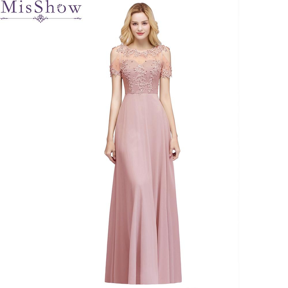 Robe de soirée élégante rose poussiéreuse longue ligne voir si retour robes formelles femmes Occasion robes de soirée avec perles 2019 nouveau
