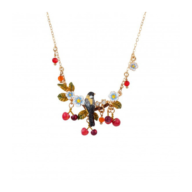 New Elegant Romantic Flower Branch Bird Cherry Necklace For Women High Quality Lady Party Jewelry