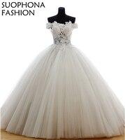 Casamento Vintage Personnalisé robe de bal robes De Mariée 2018 À manches Courtes En Dentelle Perlée robes De Mariée Robe de noiva