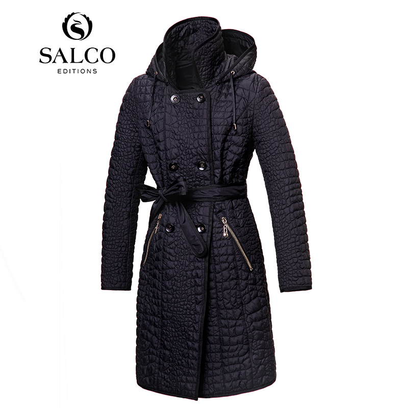 SALCO free shipping 2017 European and American fashion embroidery ladies new women padded jacket and long sections