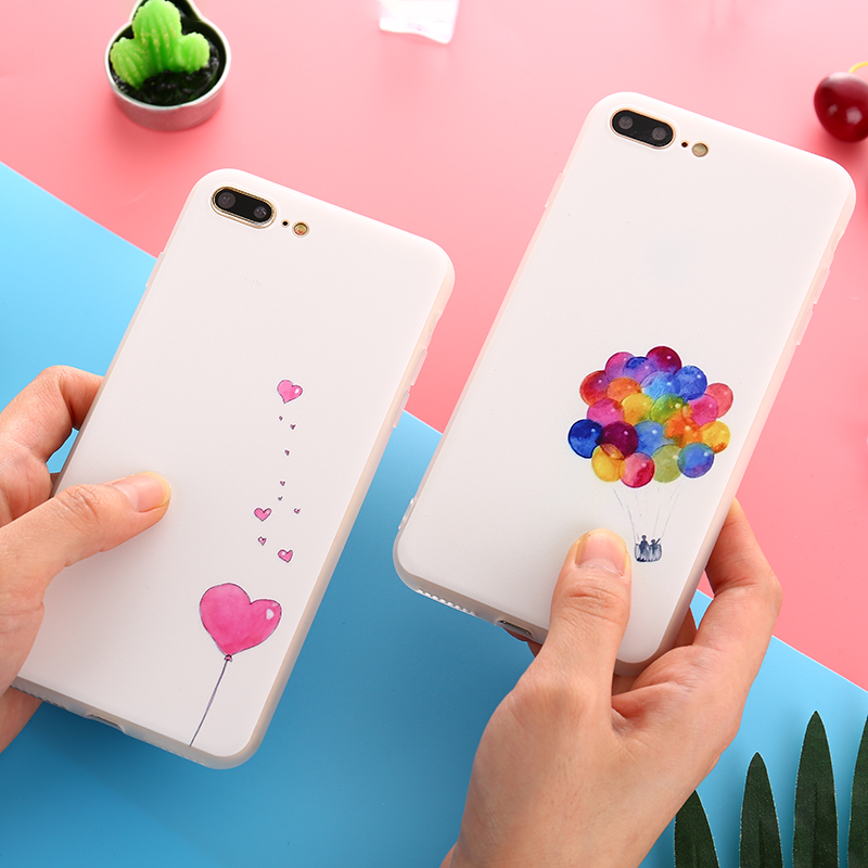 Soft Rubber Candy Color Case For iPhone 7 6s Plus Painting Balloon Love Heart Cover For iPhone X 8 7 6 6S Plus Case ...