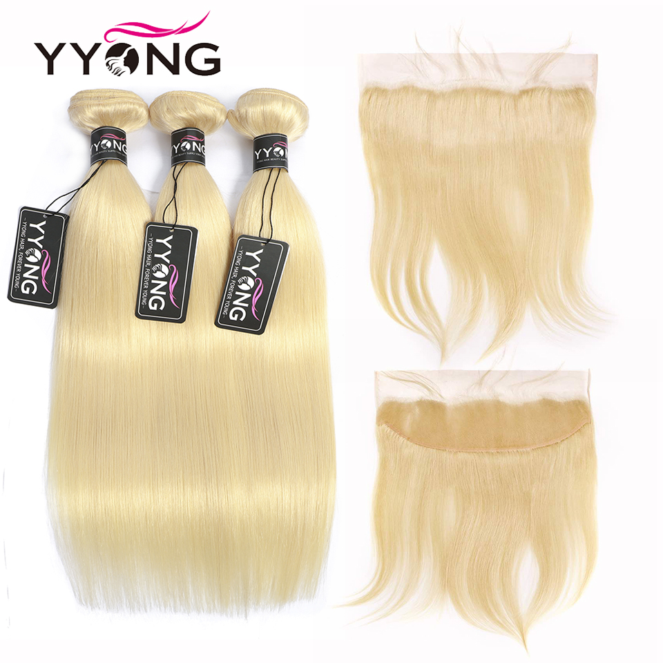 Yyong 613 Bundles With Frontal Brazilian Straight Human Hair Blonde Bundles With Closure Remy Lace Frontal