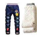 Meninas da forma calças de Brim 2016 Crianças Calça Jeans Além de veludo Denim Stretch Calças Térmicas Crianças Outono e Inverno Calças Quentes de Espessura