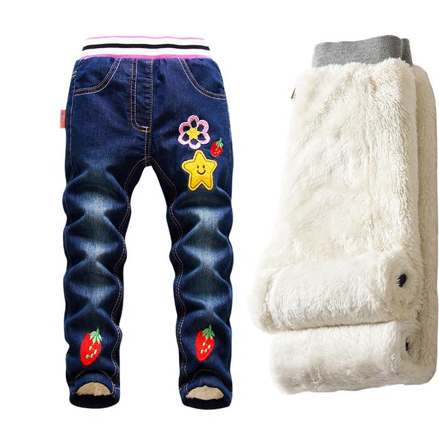 Muchachas de la manera Pantalones Vaqueros 2016 Pantalones Vaqueros de Los Niños, Además de terciopelo Denim Stretch Pantalones Térmicos Niños Otoño e Invierno Gruesos Pantalones Calientes