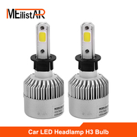 Meilistar S2 H3 Car LED Headlight COB Headlamp Kit Dipped Single Beam DRL 72w 8000LM Set