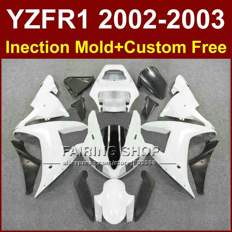 High quality custom fairing for YAMAHA bodyworks YZF R1 2002 2003 yzf r1 02 03 YZF1000 02 03 white body fairings