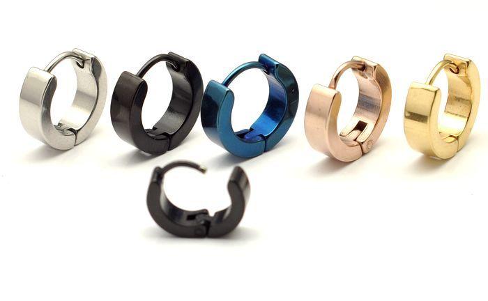 4mm flat plain titanium earrings Men male titanium ear buckle titanium stud ear ring Vacuum Plating 100pcs/lot Free Shipping