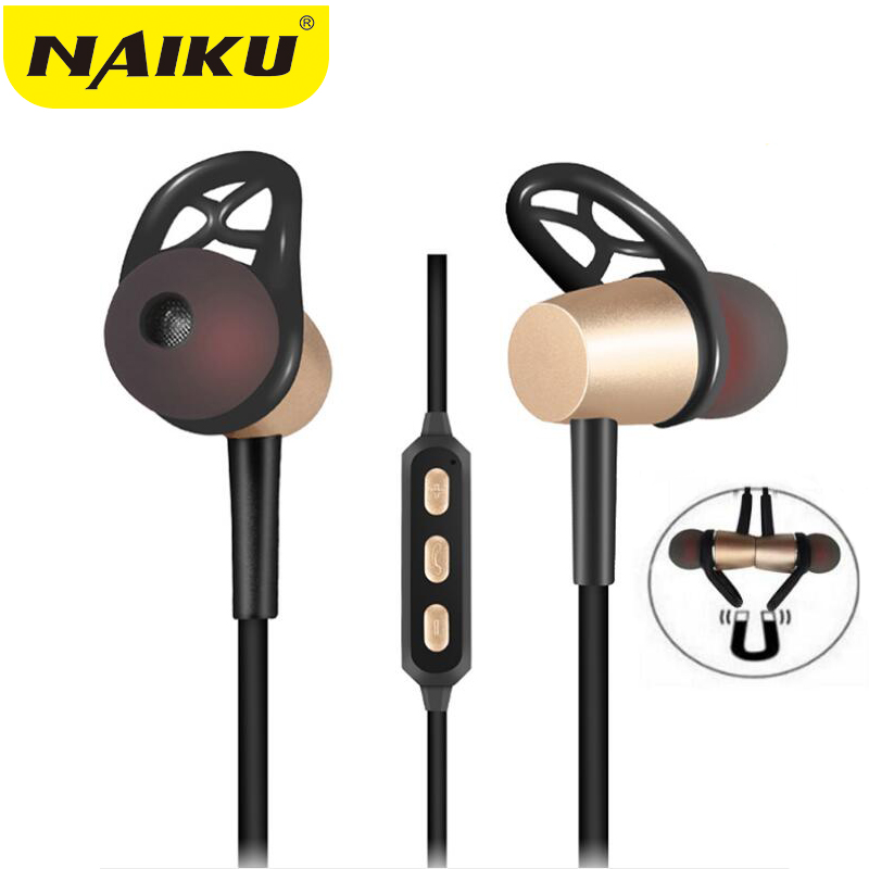 2018 NAIKU Bluetooth Headset Metal Magnetic Wireless Stereo Headphones with Mic Sport Running Apt-X HD Music Bluetooth earphone