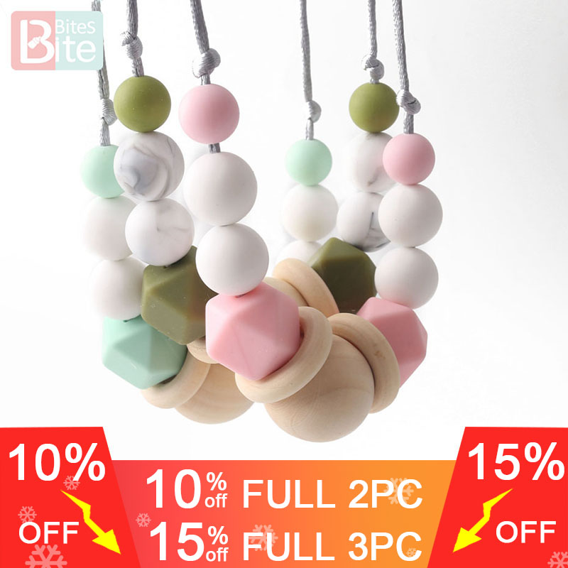 Bite Bites 1PC Silicone Baby Teething Necklaces Organic Wood Ring Chewing Beads Food Grade Silicone Bite Chain Baby Teether