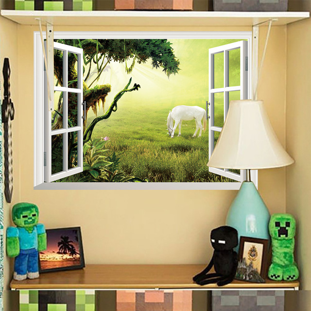2018 New 3D Vivid  False Window Grassland White Horse Living Room Bedroom Wall Stickers Removable Waterproof PVC Sticker 1PC