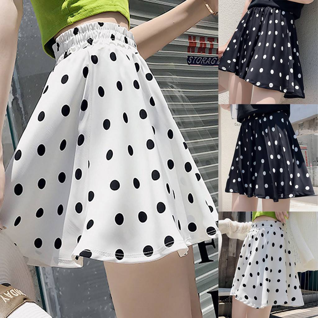Hot Sale Dot Print Skirts rokjes dames Fashion Party Cocktail Summer Women Solid Color Skirt Dot High Waist Skirt faldas #5