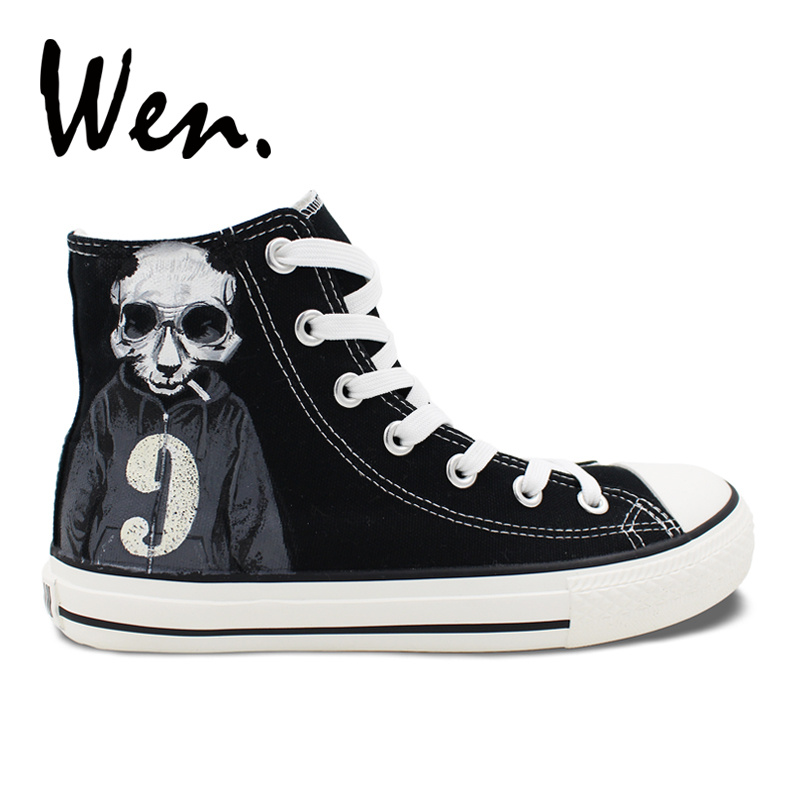 Wen Original Design Black Hand Painted Canvas Shoes Cool Panda Skull Smoke Sweater Numbe ...