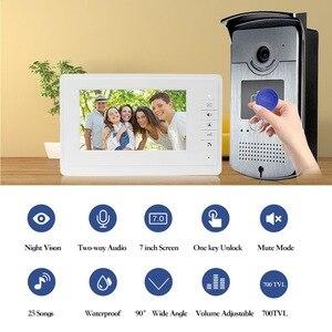 Image 2 - Wired בית 7 צבע וידאו אינטרקום RFID מצלמה עם 1 צג וידאו דלת טלפון 500 משתמש לדירות עם מתכת מנעול חשמלי