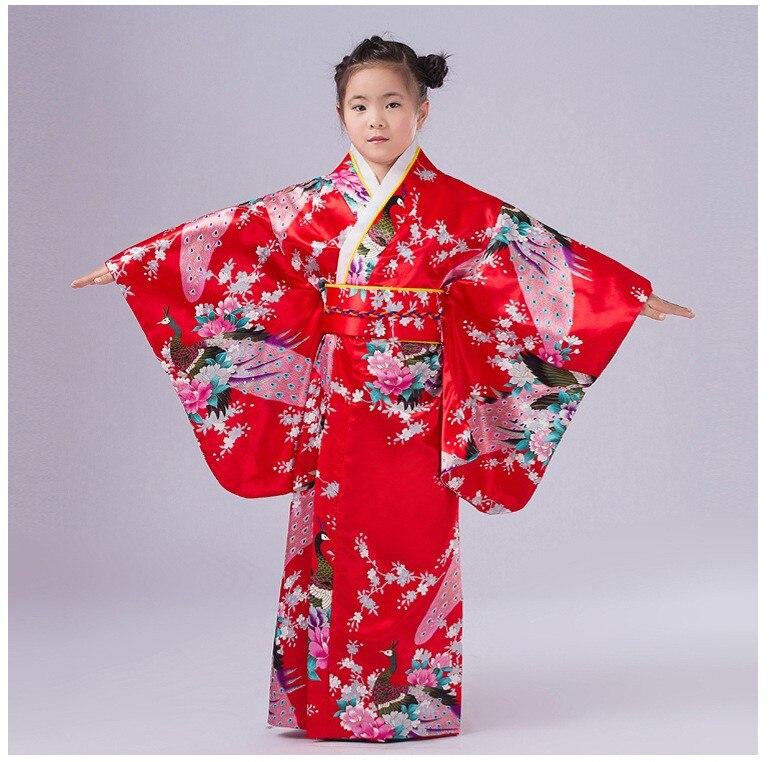 Pink Japanese Baby Girl Silk Kimono Dress Traditional Children Yukata With Obi Child Kid Girl Dance Dress Size S M L NK015