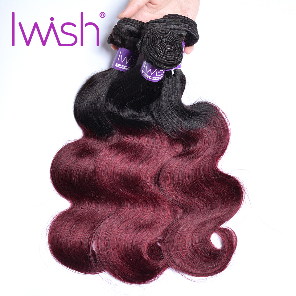 Iwish Indian Hair Bundles Body Wave Bundles 3 Bundle Deals Alot 1b 99j Burgundy Bundles Remy Hair Extensions Free Shipping