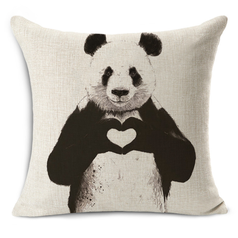 45x45cm Cartoon Panda Cushion Animals Quality Printing Home Decorative Throw Pillows For Couch Seat Back Cushions Fine Linen 1pc