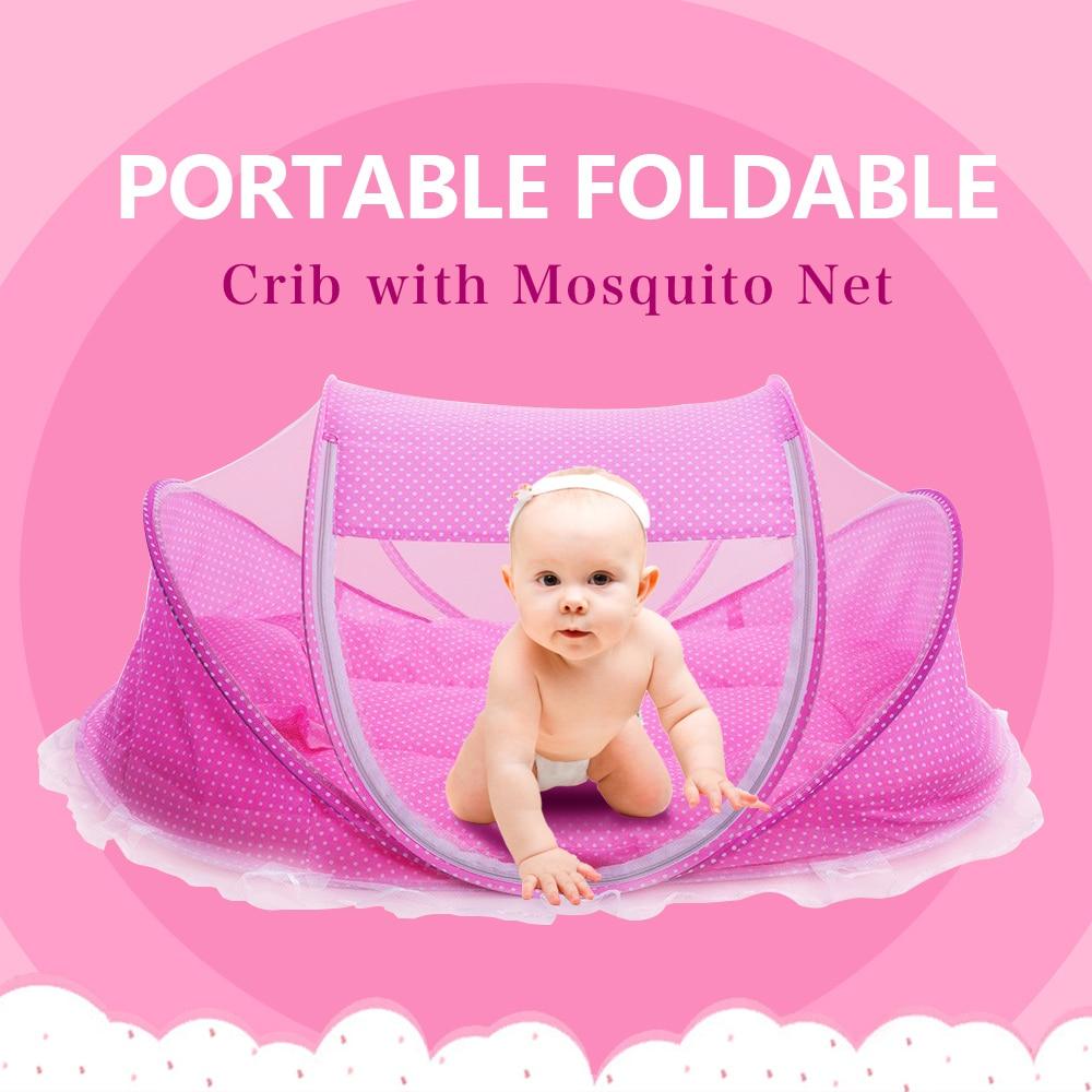 Hot Πωλήσεις Baby Crib 0-3 Χρόνια μωρό νεογέννητο Sleep Travel Bed πτυσσόμενα με Μαξιλάρι Ματ Σετ Φορητό πτυσσόμενο καρεκλάκι Pad με δίχτυ