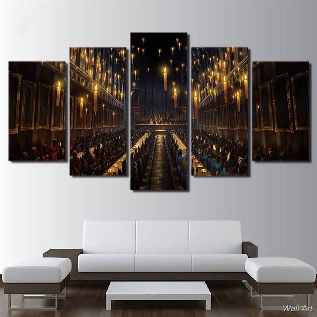 Sofa Gross 5 pcs hd printed canvas harry potter gross cathedral paintings