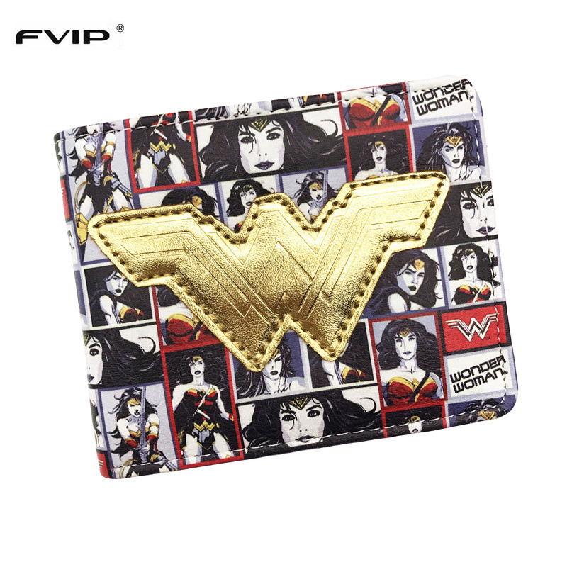 FVIP Comics DC Wallet Hero Wonder Woman Wallet Super Hero Short Purse for Teenager Dollar Price dc wonder woman wallet suicide squad purse super hero fashion cartoon wallets personalized anime purses for teens girl student