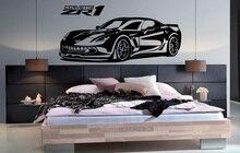 Corvette autocollants muraux en vinyle ZR1, super sport, 2CE19, décoration murale pour voitures de sport, passionnés de voitures, dortoir et maison