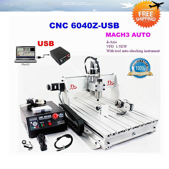 Free shipping!!! 4 AXIS CNC router 6040Z-USB with 1.5KW spindle USB port, cnc 3d printer for wood metal hot!! cnc router wood milling machine cnc 3040z vfd800w 3axis usb for wood working with ball screw