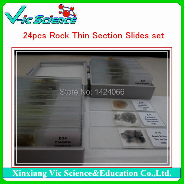 24pcs Rock Thin Section Slides set