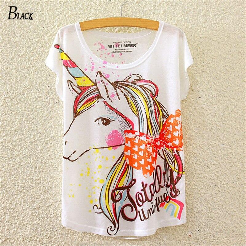 NEGRO Marca Venta CALIENTE Harajuku Unicornio Impreso Suelta Batwing Camiseta Pa