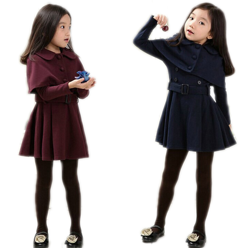 2016 Girls Winter Dresses Sweet Autumn Winter Long sleeve Children Bowknot Cotton Dress For Party Christmas