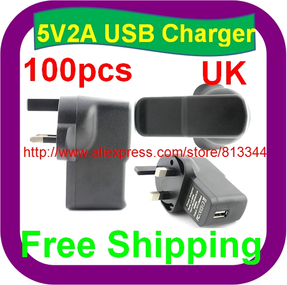 100 pcs Free Shipping 5V 2A UK PLUG USB Charger Power Adapter with USB Charger AC