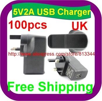 100 Uds envío gratis 5V 2A UK enchufe USB cargador adaptador de corriente con USB cargador AC adaptador