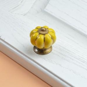 Image 4 - 10pcs 40mm Ceramic pumpkins Cabinet Knobs Furniture Handles Dresser Drawer Handles Door Knob Screw Home Decorating Cane Toppers
