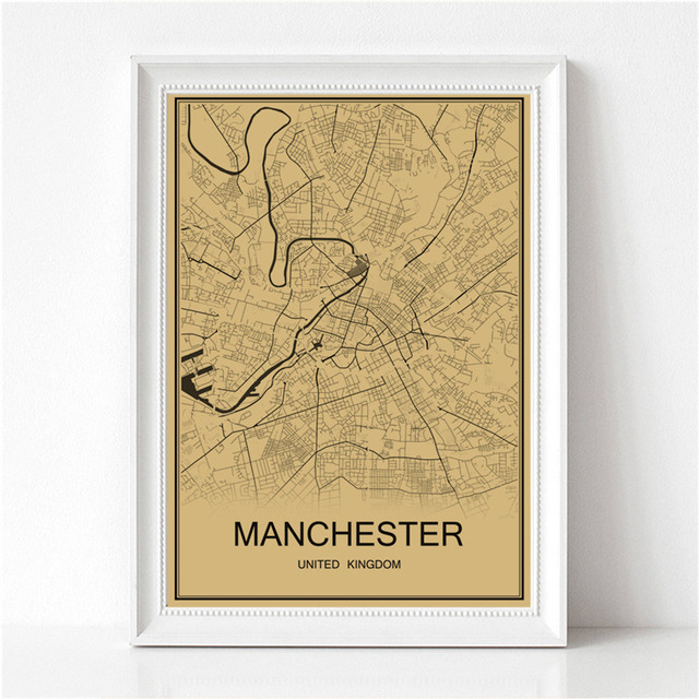 Manchester World Map.Hot Sale Manchester World Map Retro Painting Vintage Poster Krafts
