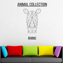 Geometric RHINO Head Vinyl Sticker Animals Anime Wall Decal Scandi Minimalistic  Monochromatic DIY Murals JH18