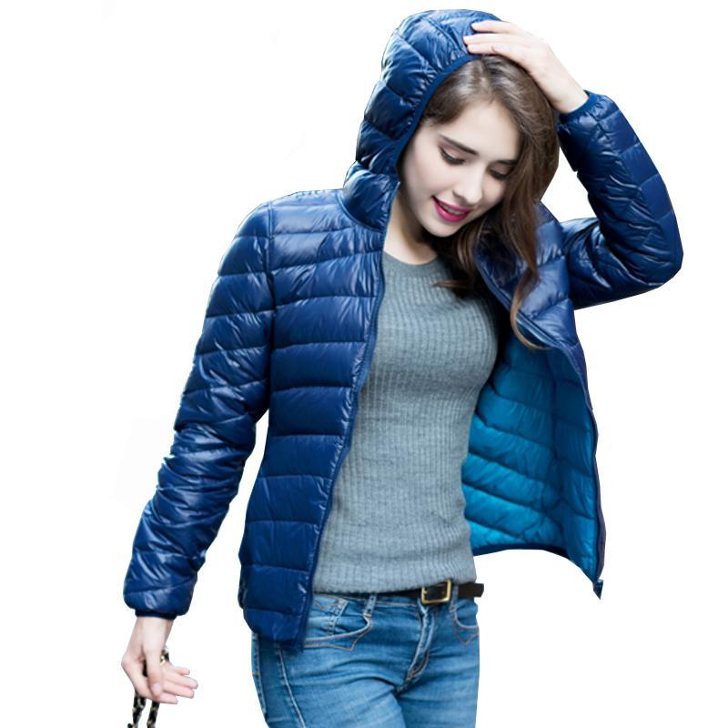 S-XXXL New 2018 Winter Two Side Women 90% White Duck   Down   Jacket Women's Hooded Ultra Light   Down   Jackets Warm Winter   Coat   Parkas