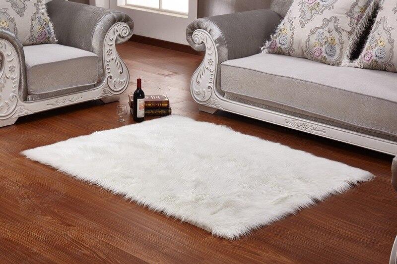 Couverture de chaise en peau de mouton douce tapis poilu chaud coussin de siège plaine peau fourrure plaine tapis moelleux lavable chambre Faux tapis