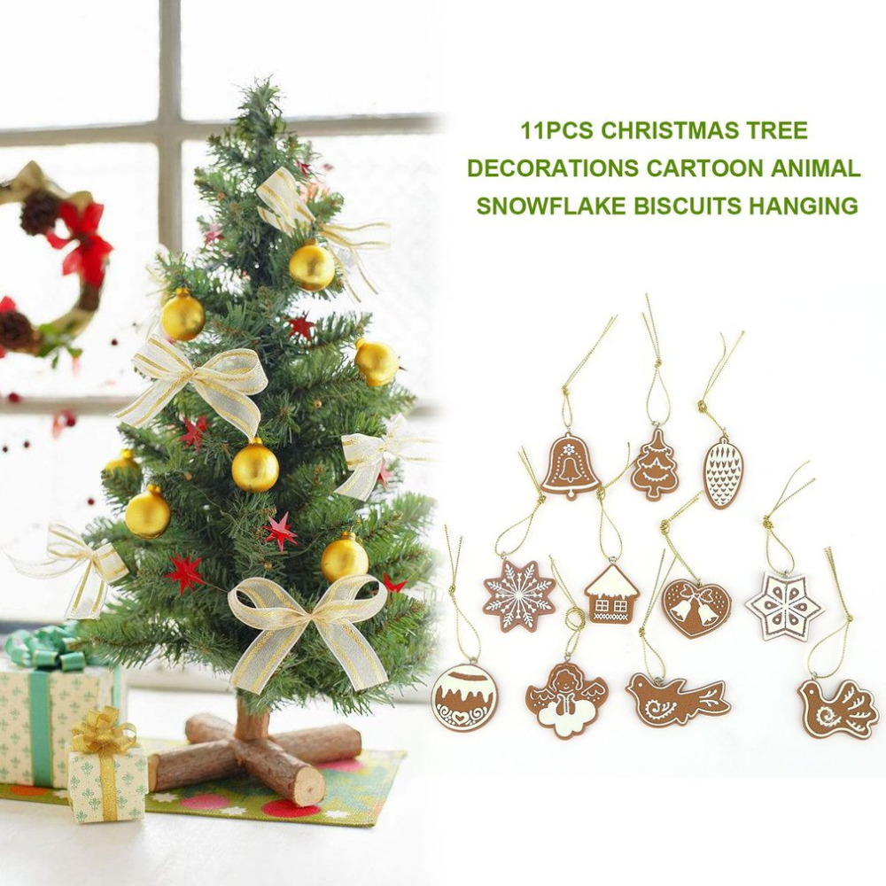 11pcs Soft Pottery Cartoon Animal Snowflake Biscuit Hanging Christmas Tree  Ornament Hand Made Polymer Clay Christmas