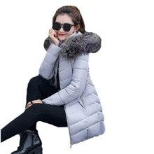 2017 New Winter Jacket Women Long Slim Large Fur Collar Hoode Women Cotton coat Thick Female Wadded Jacket Plus Size parka woman