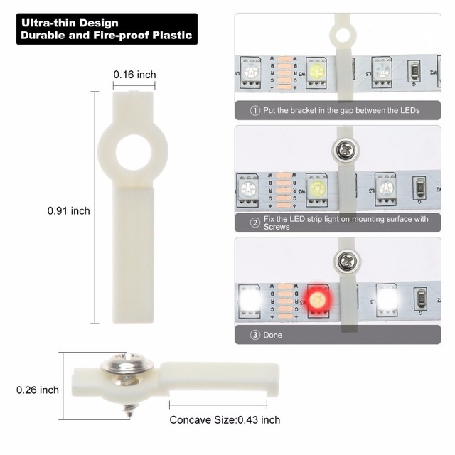 20 pieces/lot LED strip accessory Fixed Holder Silicone Strip Clip for SMD5050/2835/3014/5730/3528 fix on the Strip light