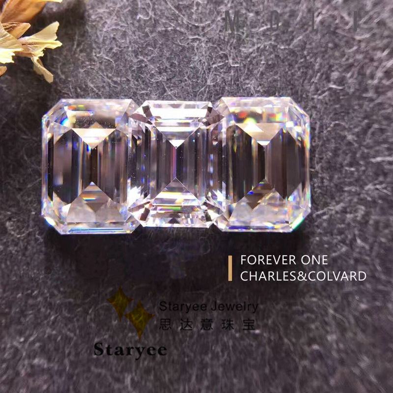 Certified 1 5CT Emerald Cut Charles Colvard Forever One Moissanite Loose  Gem stone VS D E F Colorless Diamond Positive Testing-in Beads & Loose