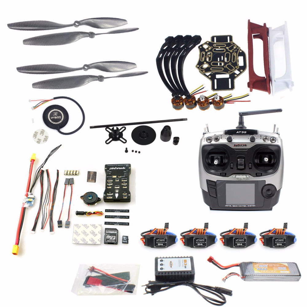Model Kit Full Set DIY Drone 4-axle Aircraft Quadcopter HJ 450 Frame PX4 Flight Control 920KV Motor GPS AT9S Transmitter Props diy set pix4 flight control zd850 frame kit m8n gps remote control radio telemetry esc motor props rc 6 axle drone f19833 d