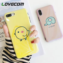 LOVECOM Blu-Ray Phone Case For iPhone 6 6S 7 8 Plus X Cool Korean Style Chick & Elephant Soft IMD Cute Phone Back Cover Cases(China)