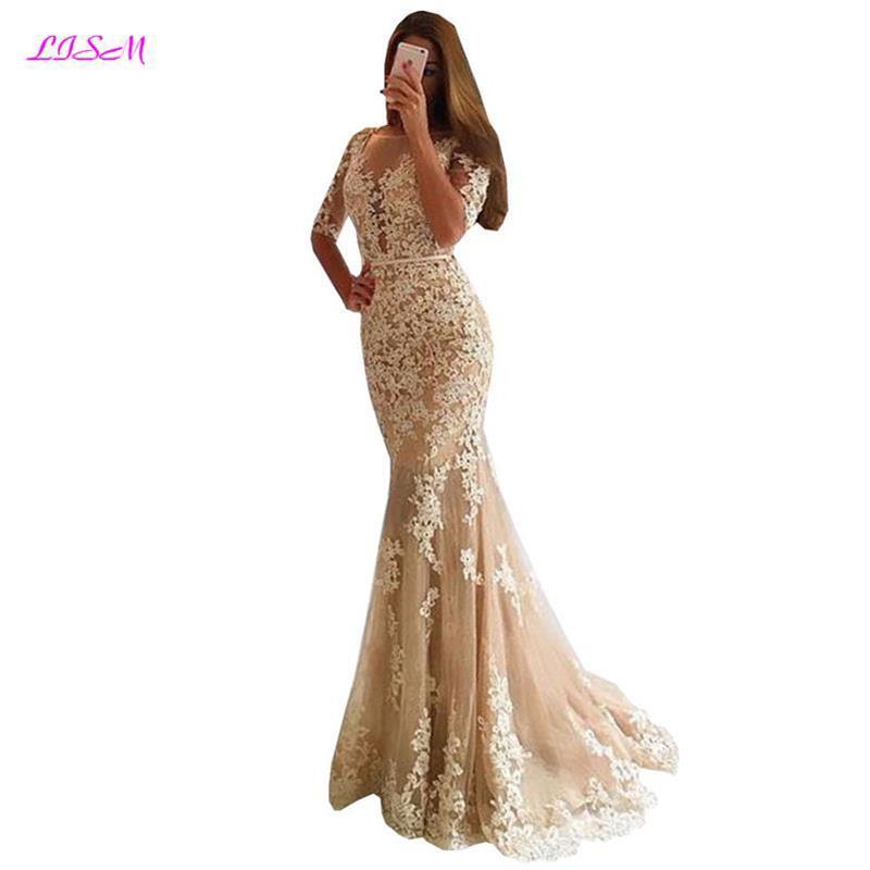 Robe de soirée sirène robe de soirée dos nu Scoop dentelle Appliques longues robes de bal 2019 Tulle robe formelle
